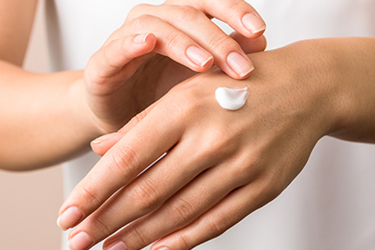 lotion on hand