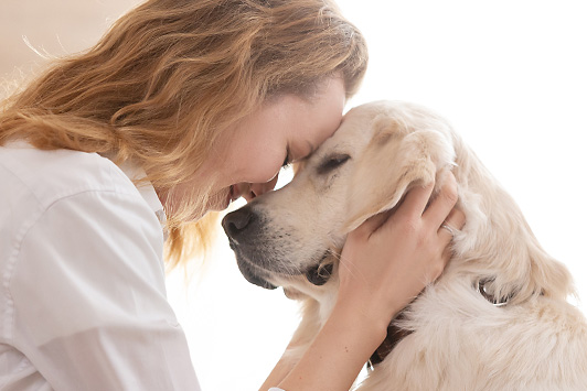 woman and dog touching heads