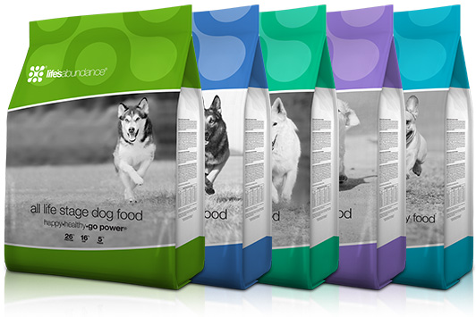 lineup of Life's Abundance dog food