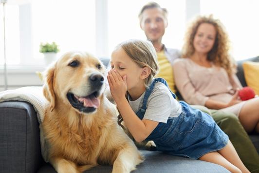 child whispering in dog ear