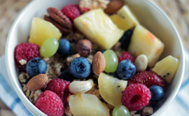 bowl of healthy fruit and granola