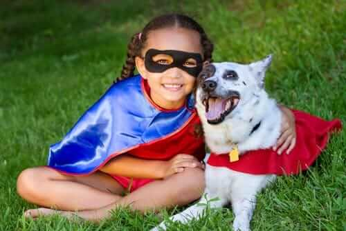 Super girl and dog