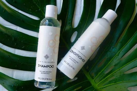 shampoo and conditioner on leaf