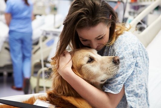 Therapy Dog Connects With Woman