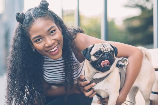woman-and-pug